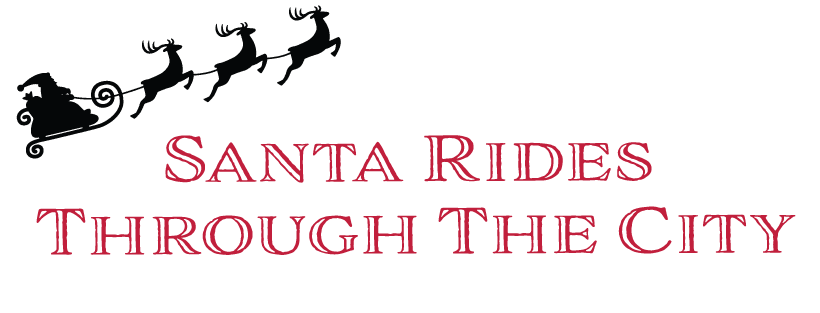 Santa Rides Through the City
